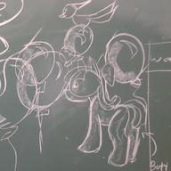 Apple_Bloom Friendship_is_Magic MLP MLPFiM My_Little_Pony Pony_Poppers arrow author_fancy author_like balloons blank_flank bow butt chalk chalkboard doodle earth_pony female filly fim open_mouth plot pony rump text // 988x988 // 116.4KB
