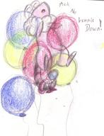 Flaaffy Pokemon androgynous author_indifferent balloons bow bowtie bracelet colour crayon doodle featureless_crotch inflatable_ring male monologue open_mouth pencil pencil_sketch sketch tailring text // 514x673 // 130.3KB