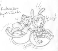 Bunni Kilo Luna Roll action author_indifferent balloon_riding balloon_sitting balloons bunny bwub feline felyne female flop long_ears male midriff open_mouth pencil pencil_sketch sfx shirt shorts sketch stray_unrelated_text text tumble // 1249x1109 // 209.8KB