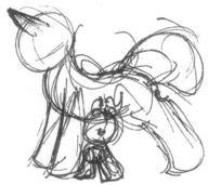 Pinkie_Pie Squeaky_Pinkie author_indifferent female horn ink ink-sketch male pony rough sketch unicorn // 522x464 // 54.9KB