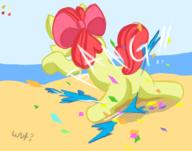 Apple_Bloom Confetti FireAlpaca MLPFiM author_fancy author_indifferent balloon_bits balloon_popping balloons beach bits colour filly plot pony popping s2p sitting text warm wut // 1708x1343 // 590.0KB