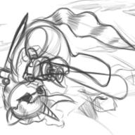 action author_like digital digital_sketch doodle Fallout_Equestria GIMP gun male Pokey_Pierce rough safety_pin sketch sword unicorn // 200x200 // 199.2KB